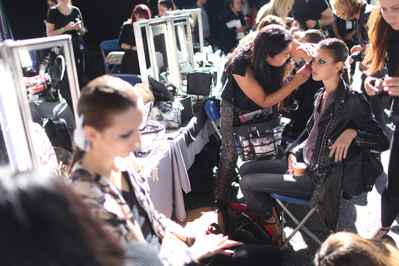 Backstage at Julien Macdonald Spring 2016
