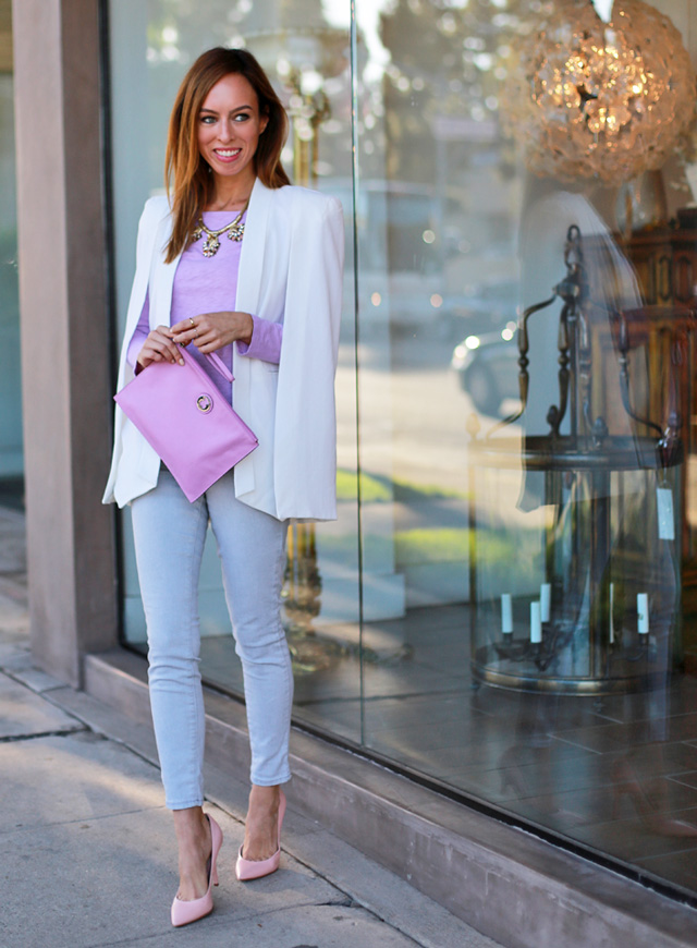 Sydne-Style-how-to-wear-a-cape-blazer-trend-white-jacket-lavender-pastels-for-fall-street-style-pink-pumps