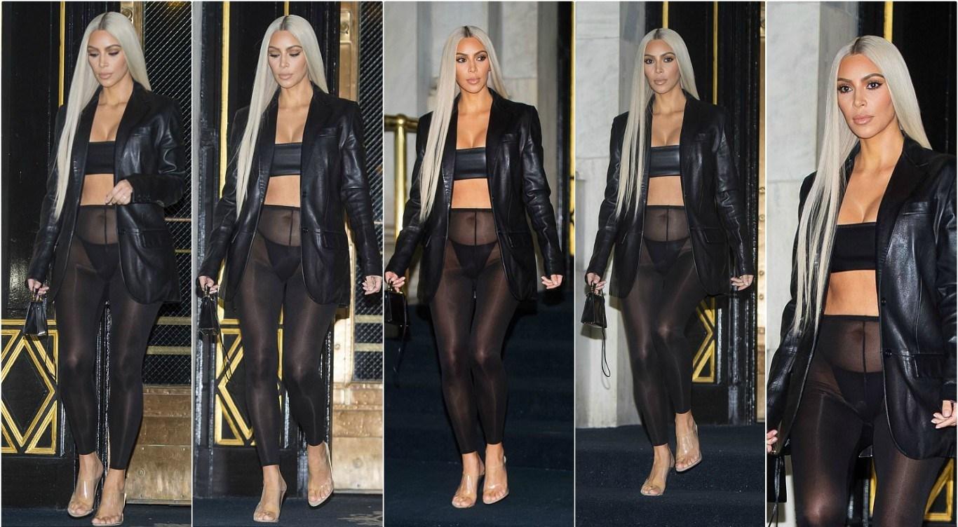 Kim-Kardashian-wears-sheer-black-leggings-at-New-York-Fashion-Week