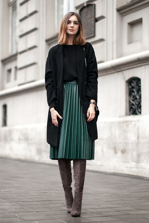 Le-Fashion-Blog-Blogger-Style-Black-Longline-Coat-Sweater-Green-Midi-Pleated-Skirt-Over-The-Knee-Suede-Boots-Via-Fashion-Agency
