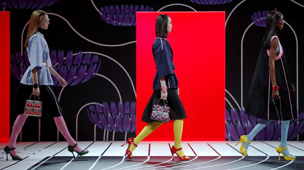 Models present creations from the Prada Autumn/Winter 2020 women collection during Milan Fashion Week in Milan, Italy, February 20, 2020. REUTERS/Alessandro Garofalo